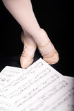Ballet dancing and music sheet Stock Photo