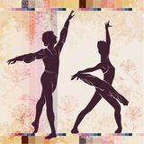 Ballet. Dancing silhouette on vintage background royalty free stock image