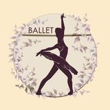 Ballet. Dancing silhouette on vintage background stock image