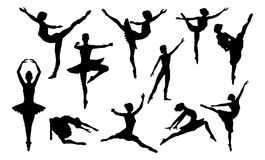 Ballet Dancing Silhouettes Set. Ballet dancer woman in silhouette dancing in various poses and positions stock illustration