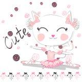 Ballet de danse de chat mignon de ballerine dans le tutu rose illustration de vecteur