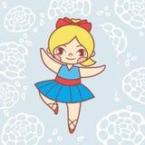 Ballet de danse de petite fille dans la robe bleue Photos stock