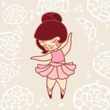 Ballet de danse de petite fille dans une robe rose Photographie stock