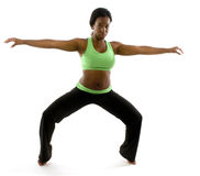 Ballet de ejercicio negro femenino latino joven Imagen de archivo