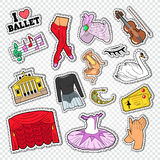 Ballet Doodle with Dance Theater Stickers, Patches and Badges Stock Photos