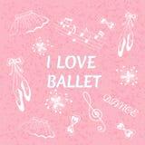 Ballet doodle vector illustration. I love ballet vector illustration