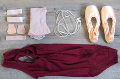 Ballet equipment. On wooden floor Stock Image