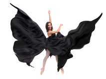 Ballet female dancer in black satin Royalty Free Stock Photos