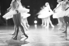 Ballet. The final output of ballet dancers on stage after the performance stock photography