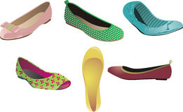 Ballet Flats. Various illustrations of fashionable ballet flats in different designs Stock Photos