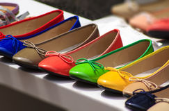 Ballet flats. Ballet flat shoes of different colores exposed for sale Royalty Free Stock Photos