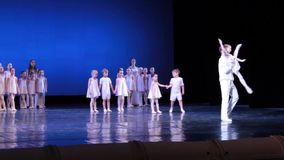 Ballet fragment with the participation of young artists stock video