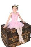 Ballet Girl. Brunette ballet girl against a white background wearing pink Stock Photography
