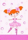 Ballet girl red. Cute little dancing ballerina. Vector Illustration Royalty Free Stock Photos