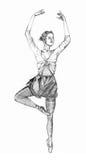 Ballet girl. Sketch on paper Stock Photo