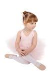 Ballet girl. Toddler ballet girl in pink against white background Stock Photo