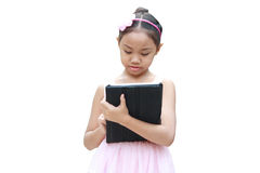 Ballet girl use tablet Royalty Free Stock Photography