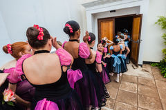 Ballet Girls Backstage Line Royalty Free Stock Photography