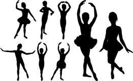 Ballet girls dancers silhouettes Stock Photos