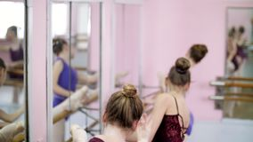 In ballet hall, Young ballerinas in purple leotards perform part de bra with slope, moving hands elegantly up and down. In ballet hall, Young ballerinas in stock video footage