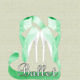Ballet Heels. Green ballet shoes with high heels and ribbons Royalty Free Stock Photography