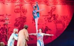Ballet la nuit bras-acrobatique de rêve de showBaixi Photos stock