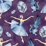 Ballet naadloos patroon met ballerinasymbolen: tutu, pointe, zwaan Leuke achtergrond voor balletschool, dansklasse vector illustratie