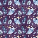 Ballet naadloos patroon met ballerinasymbolen: tutu, pointe, zwaan Leuke achtergrond voor balletschool, dansklasse stock illustratie
