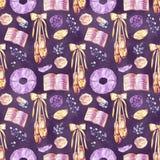 Ballet naadloos patroon met ballerinasymbolen: tutu, pointe, zwaan Leuke achtergrond voor balletschool, dansklasse royalty-vrije illustratie