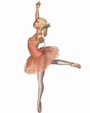 Ballet Performance - Attitude Pose. Young ballerina wearing a pink classical tutu in attitude position, 3d digitally rendered illustration Stock Photos