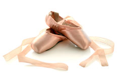 Ballet pointe shoes. Isolated on white background stock photo