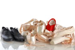 Ballet points with black shoes Stock Photography