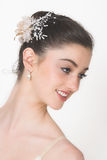 Ballet Profile. Profile of a Ballerina with flowers in her hair stock photo