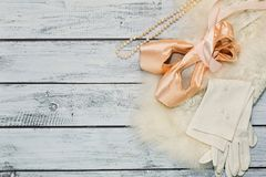 Ballet props on wooden background, top view Royalty Free Stock Images