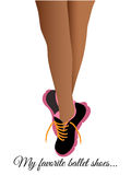 Ballet Runners Tennis Shoes. Young womans legs with runners in a ballet pose Stock Photo