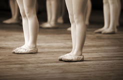 Ballet school fragment with little girls legs Stock Images