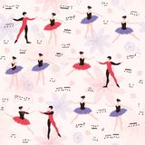 Ballet seamless pattern with beautiful dancers, flowers and musical notes Stock Image