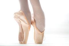 Ballet Shoe. Closeup of a dancer legs with Ballet Shoe called pointshoe stock photos