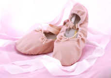 Ballet shoes. Pink ballet shoes with ribbons stock image