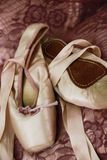 Ballet shoes. A pair of ballet shoes lying on material Royalty Free Stock Image