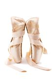 Ballet shoes 2. Brand new ballet shoes on a white background stock photos