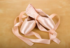 Ballet shoes. New pair of ballet shoes with ribbons stock images