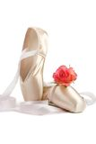 Ballet shoes. With red rose on white background Stock Photo