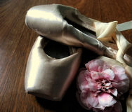 Ballet shoes. With camellia on wooden floor Stock Photography