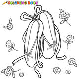Ballet shoes coloring page Stock Images