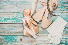 Ballet shoes and different props Stock Image