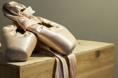 Ballet shoes displayed upon retirement stock photo