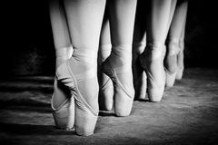 Ballet Shoes. Five girls on pointe royalty free stock photos