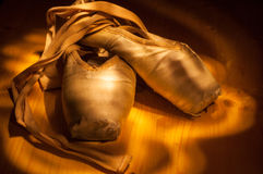 Ballet shoes. A pair of used ballet shoes royalty free stock image
