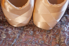 Ballet Shoes on Pink Lace Royalty Free Stock Photo